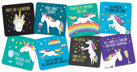 snarky unicorn coaster set