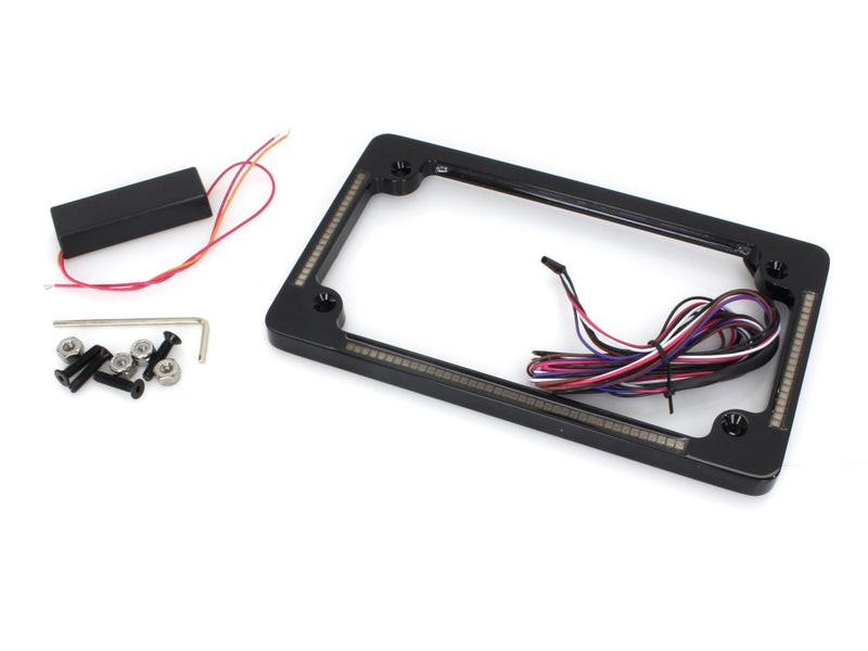 CUSTOM DYNAMICS Flat Number Plate Frame with LED Amber Turn Signals & Red Brake Light – Black