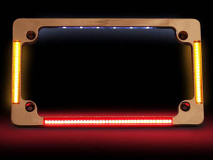 CUSTOM DYNAMICS Flat Number Plate Frame with LED Amber Turn Signals & Red Brake Light – Chrome