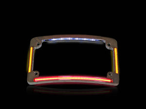 CUSTOM DYNAMICS Curved Number Plate Frame with LED Amber Turn Signals & Red Brake Light – Chrome