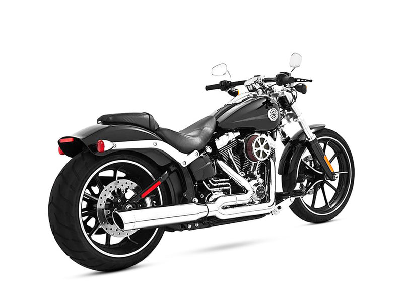 FREEDOM PERFORMANCE Union 2-into-1 Exhaust – Chrome with Chrome End Caps. Fits Softail Breakout 2013-2017 & Rocker 2008-2011