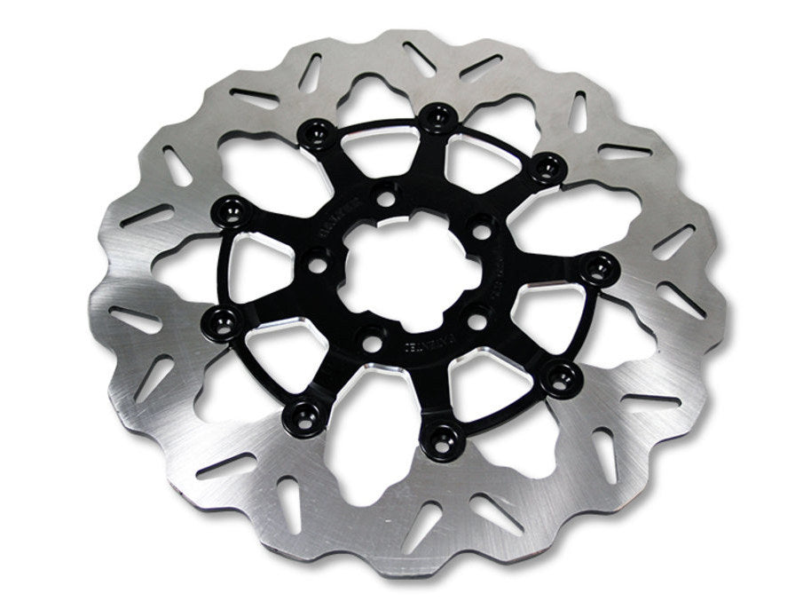 11.8″ Front Wave Floating Disc Rotor – Black. Fits Dyna 2006-2017, Softail 2015up, Sportster 2014up & Some Touring 2008up.