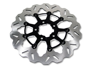 11-1/2″ Rear Floating Wave Disc Rotor with Black Carrier. Fits Big Twin & Sportster 2000up.