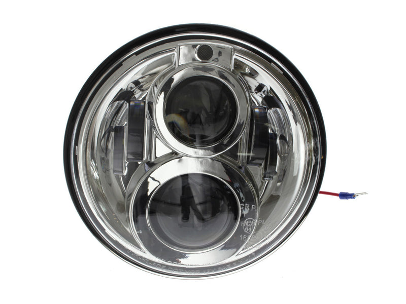 HOGLIGHTS 7″ LED HeadLight Insert with Parker – Chrome. Fts H-D, Indian Chief Classic & Dark Horse Models with 7″ Headlight.