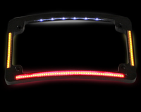 CUSTOM DYNAMICS Curved Number Plate Frame with LED Amber Turn Signals & Red Brake Light -Black