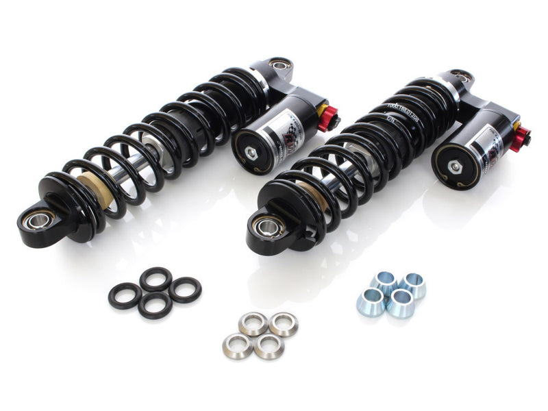 RUSS WERNIMONT DESIGNS 14″ RS-1 Piggyback Rear Shock Absorbers – Black. Fits Dyna 1991-2017