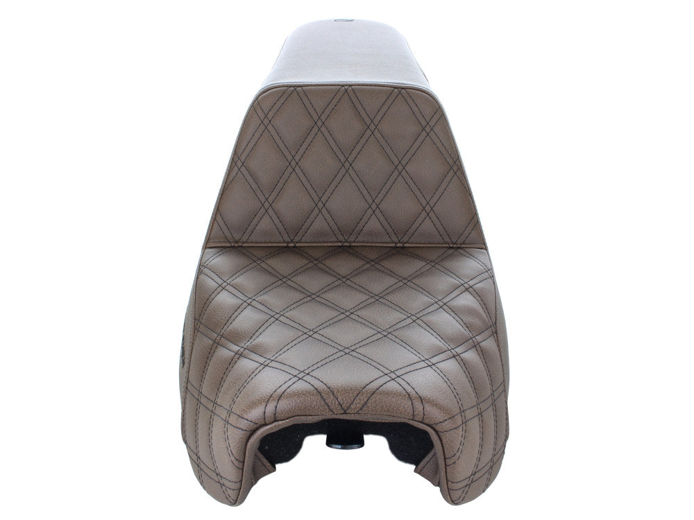 SADDLEMEN STEP UP BROWN WITH BLACK DOUBLE DIAMOND STITCH 06-17 DYNA