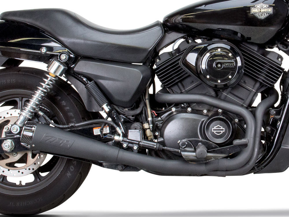 TBR Comp-S 2-into-1 Exhaust – Black with Carbon Fiber End Cap. Fits Street 500 2015up