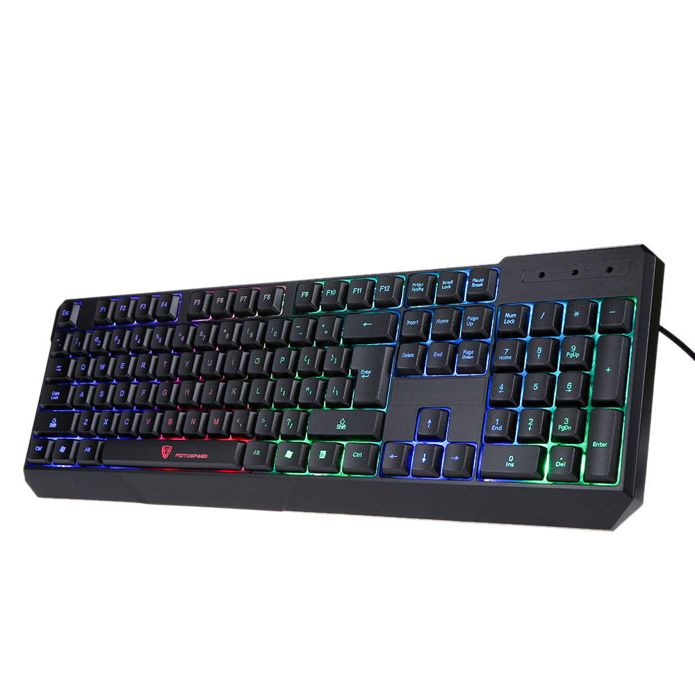 104 Key Rainbow / 7 Colors LED Black Wired Gaming Keyboard