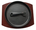22cm Round Sizzle Platter With Wood Base