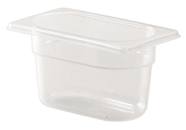 1/9 One  Ninth Size Polypropylene Gastronorm Container