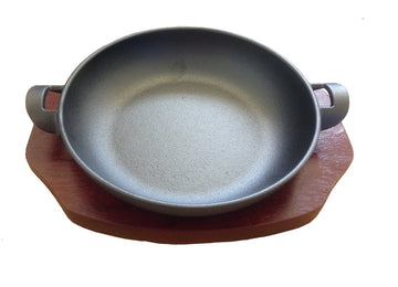 20cm Cast Iron Balti With Wood Base