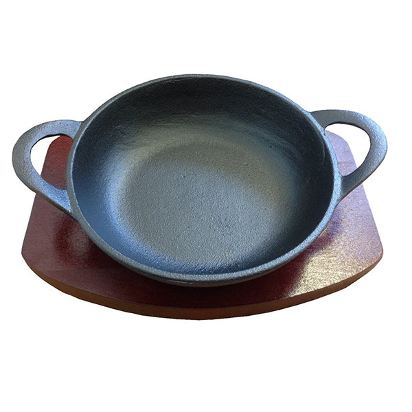 15cm Cast Iron Balti With Wood Base