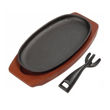 28cm Oval Sizzle Platter With Wood Base