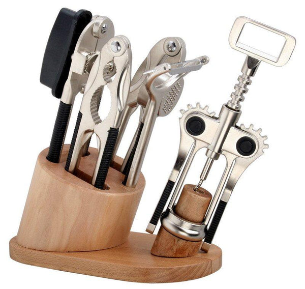 6 Pieces Kitchen Gadget Set with Wood Stand
