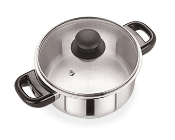 24cm Stainless Steel Casserole With Glass Lid (5124)