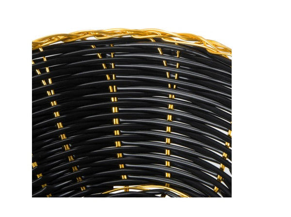 Oval Basket Black with Gold Trim