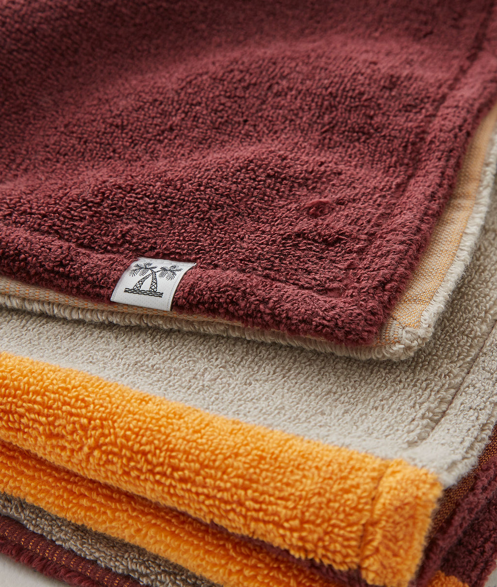 SALON TOWEL BATH TOWEL / BEIGE × BURGUNDY