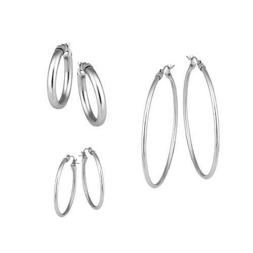 ESS153 STAINLESS STEEL HOLLOW  EARRING