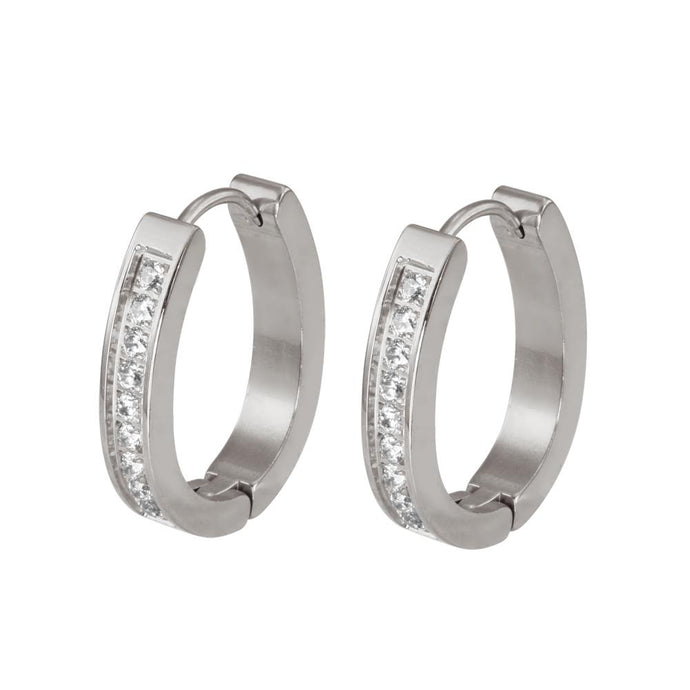 MESS21 STAINLESS STEEL EARRING WITH CZ