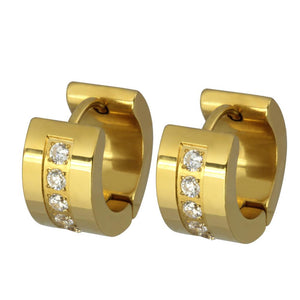 MESS22 STAINLESS STEEL EARRING WITH CZ