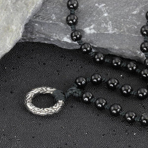 MNSS12 BEAD NECKLACE WITH STAINLESS STEEL RING