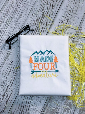 Made FOUR Adventure Birthday Embroidery Design