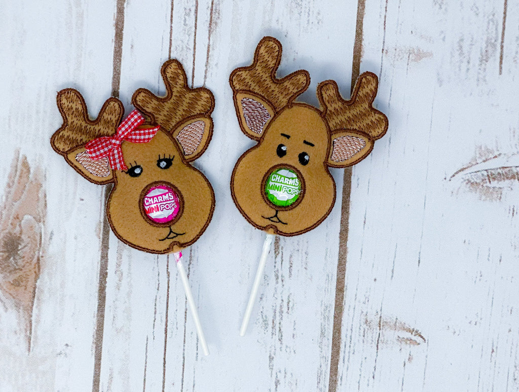 In The Hoop Girl And Boy Reindeer Lollipop Holder Applique Embroidery Design - Sew What Embroidery Designs