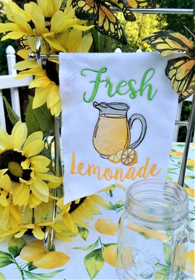 Fresh Lemonade with Lemonade Pitcher Embroidery Design - Sew What Embroidery Designs