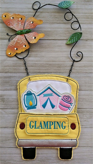 In The Hoop Red Truck Glamping Add-On Embroidery Design (Truck Not Included)