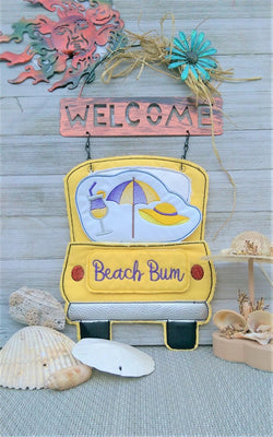 In The Hoop Red Truck Beach Bum Add-On Embroidery Design (Truck Not Included)
