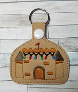 Beach Christmas Sand Castle Key Fob Embroidery Design - Sew What Embroidery Designs