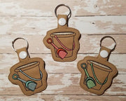 Beach Sand Bucket Key Fob Embroidery Design - Sew What Embroidery Designs