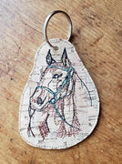 In The Hoop Sketch Horse Key Fob/Bag Tag Embroidery Design