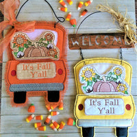 In The Hoop Red Truck Fall Pumpkins Add-On Embroidery Design (Truck Not Included)
