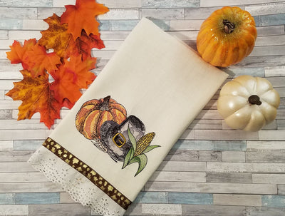Thanksgiving Pumpkin/Pilgrim Hat/Corn Sketch Filled Embroidery Design