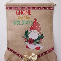 Gnome For The Holidays Sketch Filled Embroidery Design - Sew What Embroidery Designs