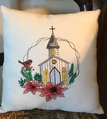 Christmas Church Wreath Sketch Filled Embroidery Design - Sew What Embroidery Designs