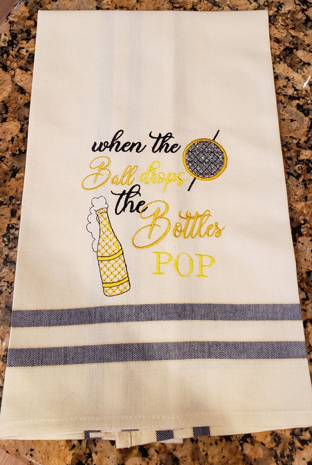 When The Ball Drops The Bottles Pop New Years Wine Embroidery Design - Sew What Embroidery Designs