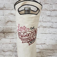 In The Hoop 6x10 Wine Bag Embroidery Design (3 styles, Blank, Knock down, and Design) - Sew What Embroidery Designs