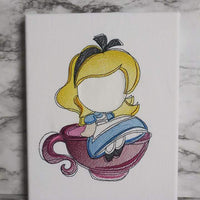 Alice in a Tea Cup w/saying Sketch Filled Embroidery Design - Sew What Embroidery Designs