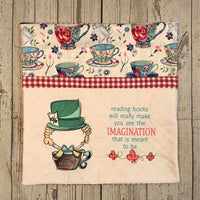 Mad Hatter in a Tea Cup w/saying Sketch Filled Embroidery Design - Sew What Embroidery Designs