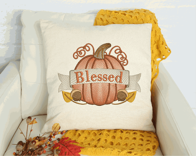 Blessed Pumpkin Sketch Filled  Embroidery Design - Sew What Embroidery Designs