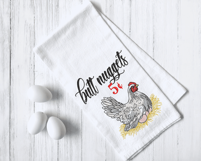 Farmhouse Chicken Butt Nuggets Embroidery Design (sketch watercolor fill) - Sew What Embroidery Designs