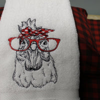 Sketched Bandanna Chicken With Glasses Embroidery Design - Sew What Embroidery Designs