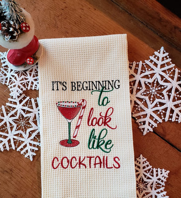 It's Beginning To Look Like Cocktails Sketch Embroidery Design