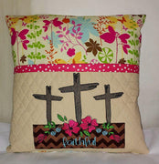 Applique Faithful Flower Box with Crosses Sketch Embroidery Design - Sew What Embroidery Designs