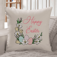 Floral Happy Easter Sketch Filled Embroidery Design - Sew What Embroidery Designs