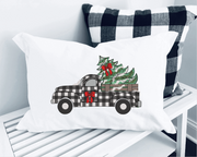 Plaid Christmas Vintage Truck Sketch Embroidery Design