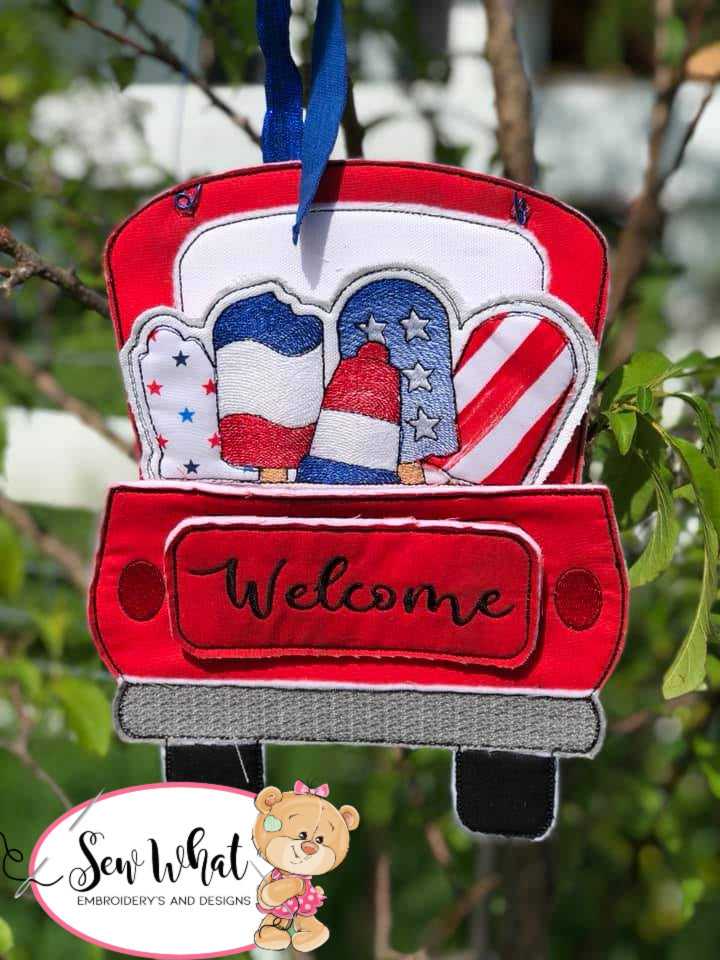 In The Hoop Red Truck Popsicle Add-on Embroidery Design (Truck not included)